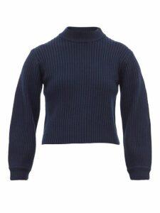 Tibi - Neck Slit Balloon Sleeve Ribbed Wool Sweater - Womens - Navy