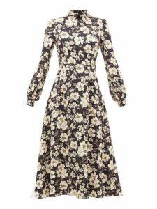 Goat - Goldfinch Camelia Print Crepe Midi Dress - Womens - Black Multi