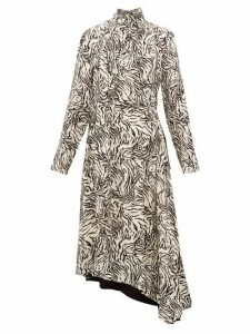 Proenza Schouler - Backless Zebra Print Crepe Midi Dress - Womens - Ivory Multi