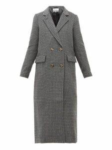 Ganni - Checked Wool Blend Longline Coat - Womens - Dark Grey