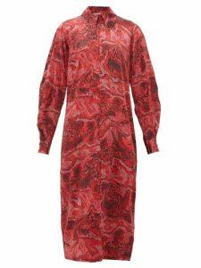 Ganni - Snake Print Silk Blend Satin Midi Dress - Womens - Red Multi