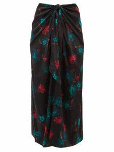 Ganni - Floral Print Tie Front Silk Blend Midi Skirt - Womens - Black Multi