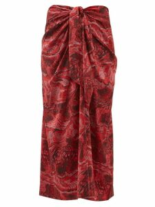 Ganni - Snake Print Silk Blend Satin Midi Skirt - Womens - Red Multi