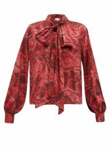 Ganni - Snake-print Silk-blend Satin Blouse - Womens - Red Multi