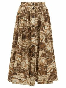 Ganni - Tiger's Eye Print Button Down Cotton Midi Skirt - Womens - Beige