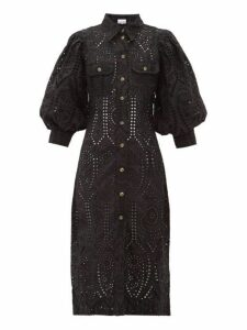 Ganni - Balloon Sleeve Broderie Anglaise Cotton Shirtdress - Womens - Black