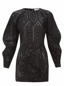 Ganni - Broderie Anglaise Cotton Mini Dress - Womens - Black