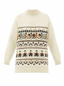 Ganni - High Neck Wool Blend Jacquard Knit Sweater - Womens - Ivory Multi
