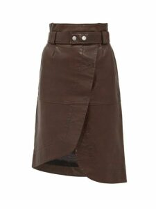 Ganni - Asymmetric Grained Leather Skirt - Womens - Dark Brown
