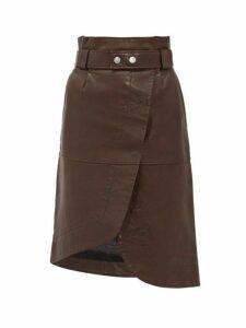 Ganni - Asymmetric Grained-leather Skirt - Womens - Dark Brown