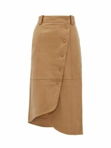 Ganni - Asymmetric Panelled Leather Skirt - Womens - Camel