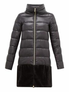 Herno - Faux Fur Trim Down Filled Coat - Womens - Black