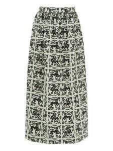 Edward Crutchley - Griffin Roundel Print Merino Wool Twill Midi Skirt - Womens - White Black