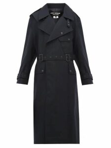 Junya Watanabe - Contrast Panel Wool Trench Coat - Womens - Navy Multi