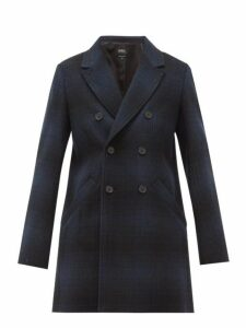 A.p.c. - Joan Checked Wool-blend Double-breasted Coat - Womens - Navy