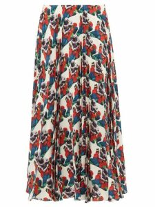 Valentino - Sculpture Print Pleated Silk Skirt - Womens - White Print