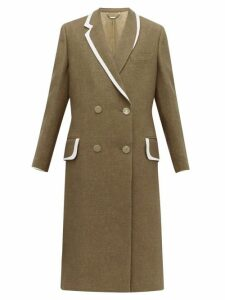 Fendi - Double Breasted Bow Back Wool & Silk Blend Coat - Womens - Brown Multi