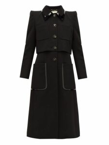 Fendi - Pvc-trim Single-breasted Wool-twill Coat - Womens - Black