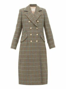 Rebecca Taylor - Double Breasted Houndstooth Wool Blend Coat - Womens - Beige Multi