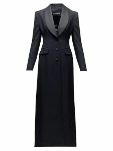 Dolce & Gabbana - Satin Lapel Single Breasted Wool Blend Coat - Womens - Black