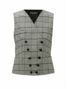 Dolce & Gabbana - Double Breasted Prince Of Wales Checked Waistcoat - Womens - Grey Multi
