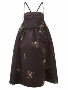 Rochas - Rose Print Duchess Satin Midi Dress - Womens - Black Print