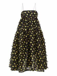 Cecilie Bahnsen - Sofie Floral-appliqué Organza Midi Dress - Womens - Black Yellow
