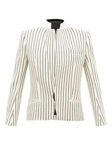 Haider Ackermann - Velvet Collar Striped Jacquard Wool Blazer - Womens - Cream Multi