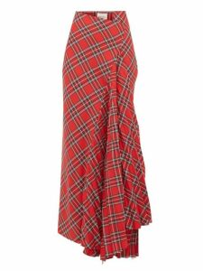 A.w.a.k.e. Mode - Sahmain Draped Tartan Twill Skirt - Womens - Red