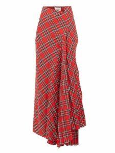 A.w.a.k.e. Mode - Sahmain Draped Tartan Twill Skirt - Womens - Red