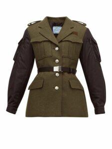 Prada - Single Breasted Contrast Sleeve Wool Jacket - Womens - Green Multi