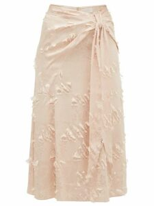 Peter Pilotto - Fil Coupé Satin Jacquard Midi Skirt - Womens - Cream