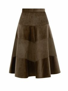 Symonds Pearmain - Panelled Cotton Corduroy Skirt - Womens - Brown