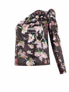 Self-portrait - One Shoulder Sequin Floral Velvet Top - Womens - Black Multi
