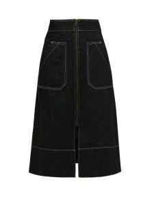 Ssone - Oak A Line Denim Midi Skirt - Womens - Black