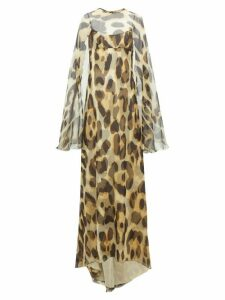 Julie De Libran - Alexia Layered Leopard Print Silk Cape Gown - Womens - Animal
