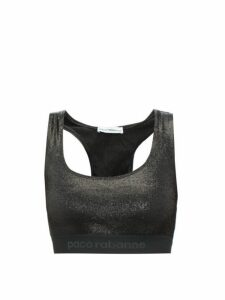 Paco Rabanne - Logo Band Lamé Bra Top - Womens - Black