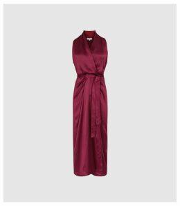 Reiss Moa - Silk Blend Wrap Effect Midi Dress in Burgundy, Womens, Size 16