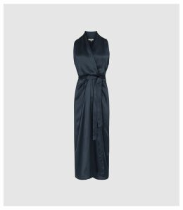 Reiss Moa - Silk Blend Wrap Maxi Dress in Navy, Womens, Size 16