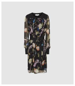 Reiss Finn - Floral-print Crinkled Sheer Dress in Black, Womens, Size 16