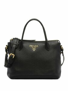Prada logo plaque tote bag - Black