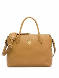 Prada double handle leather tote - Brown