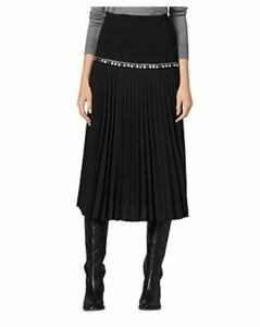 Sandro Debby Embellished Pleated Midi Skirt
