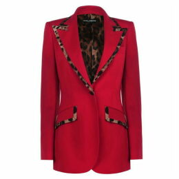 Dolce and Gabbana Leopard Trim Blazer