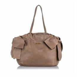 Prada Brown Leather Bow Satchel