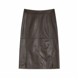 Jigsaw Leather Split Midi Skirt