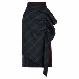 PushBUTTON Sway Striped Stretch-wool Midi Skirt