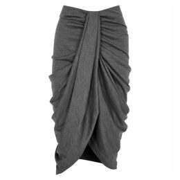 Isabel Marant Datisca Grey Draped Wool Midi Skirt