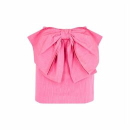 MSGM Pink Bow-embellished Moiré Mini Skirt