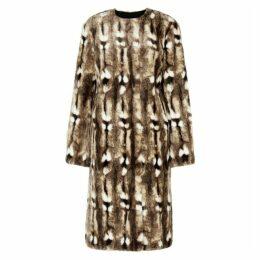 BY MALENE BIRGER Antelope Brown Faux Fur Coat